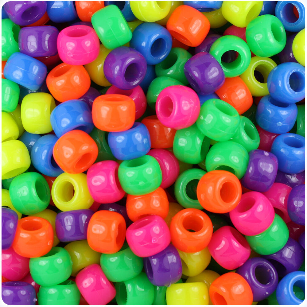 500 Mixed Neon Bright 9x6mm Barrel Pony Beads Made In The