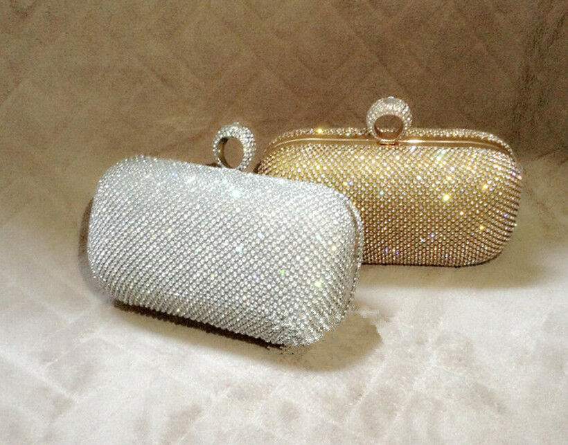 Wedding Bridal Crystal Rhinestone Evening Clutch Bag Handbags Purse Silver Gold | EBay