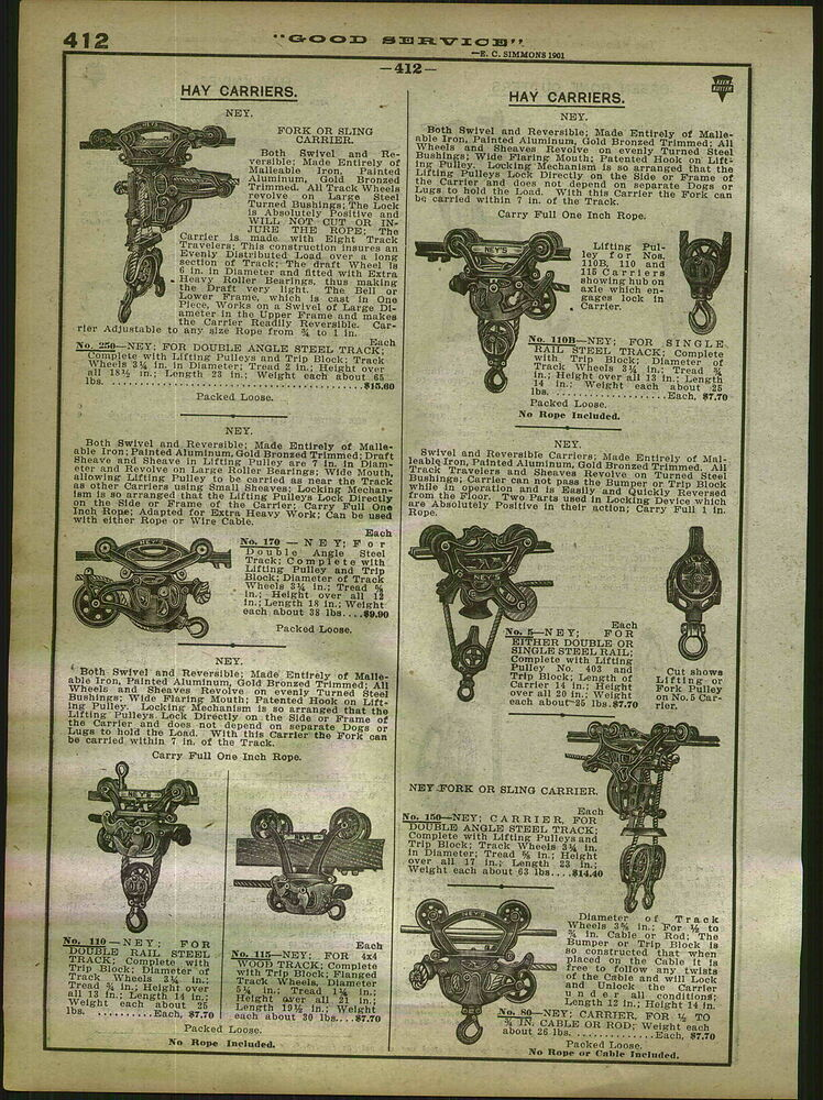 Pulleys History : Advertisement page ney hay carrier trolley grapple