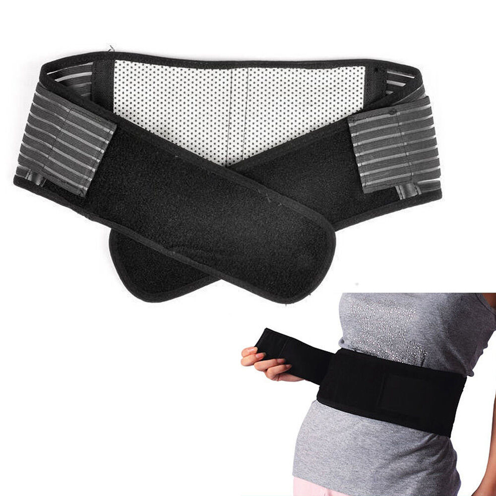 deluxe double pull magnetic lumbar lower back support belt breathable brace ebay. Black Bedroom Furniture Sets. Home Design Ideas