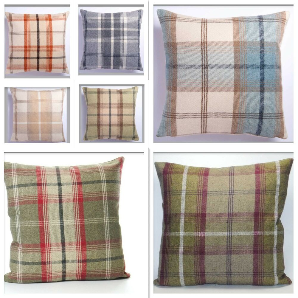 large 22in x 22in highland mist tartan or check cushion. Black Bedroom Furniture Sets. Home Design Ideas