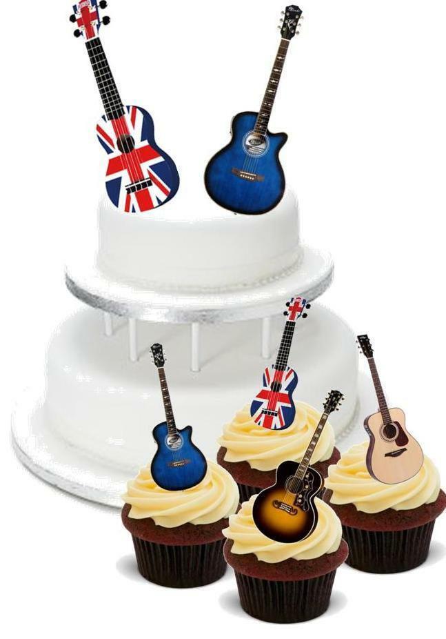 ... Guitar Mix PACK 2 Large 12 Cupcake STAND UP Cake Toppers Rock  eBay