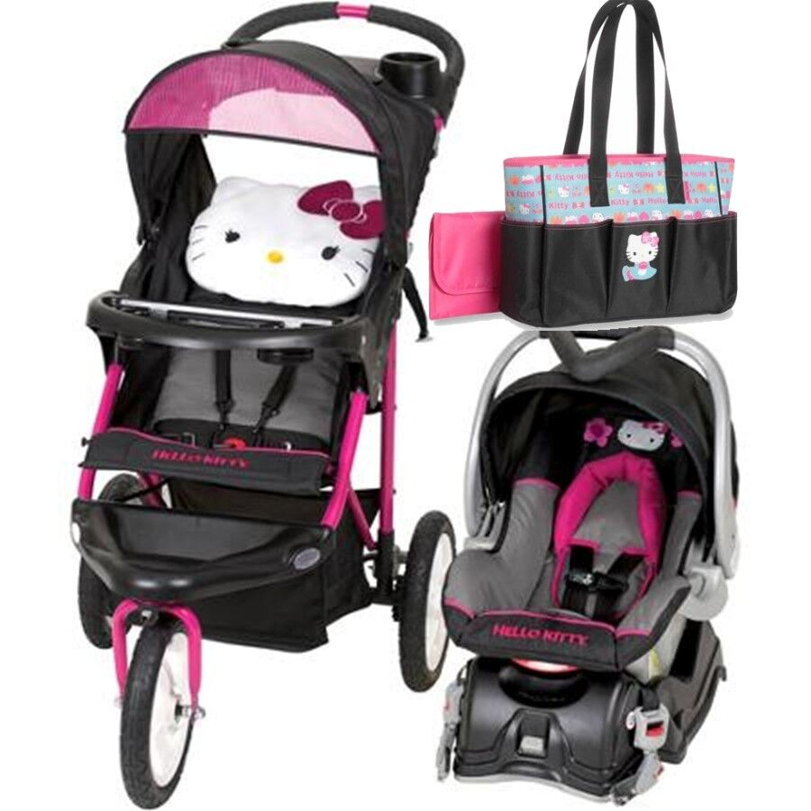 hello kitty jogging stroller travel system car seat diaper bag included ebay. Black Bedroom Furniture Sets. Home Design Ideas