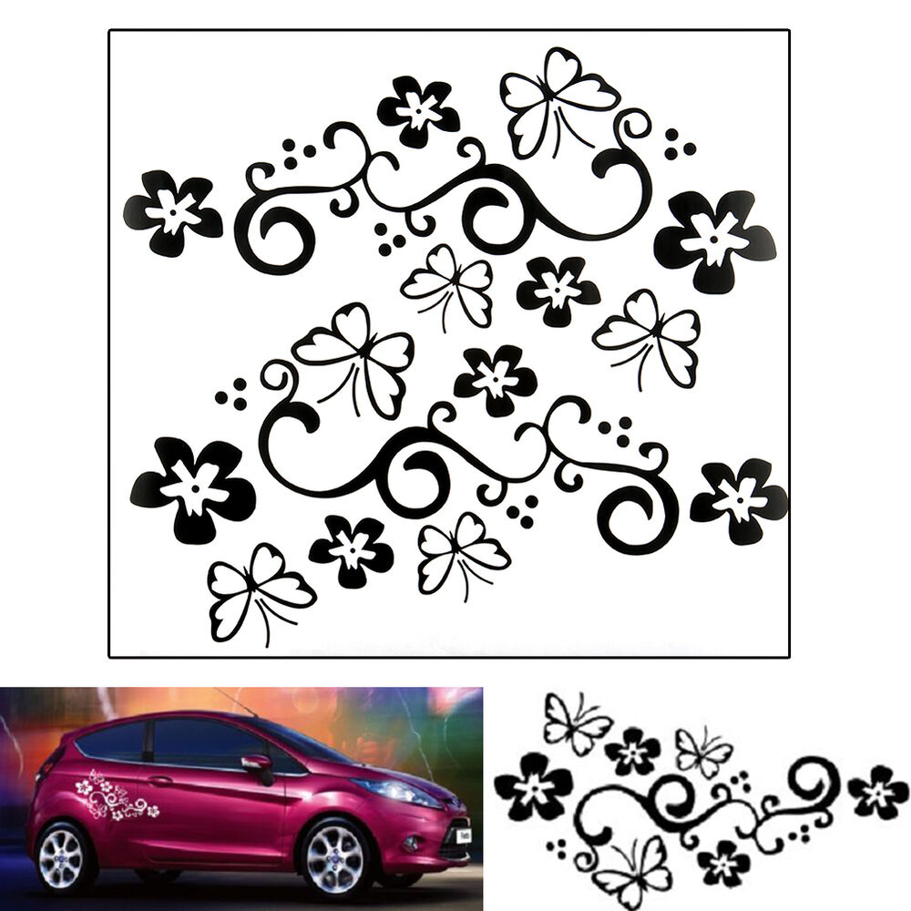 2x butterfly flower vinyl car graphics window sticker Getting stickers off glass