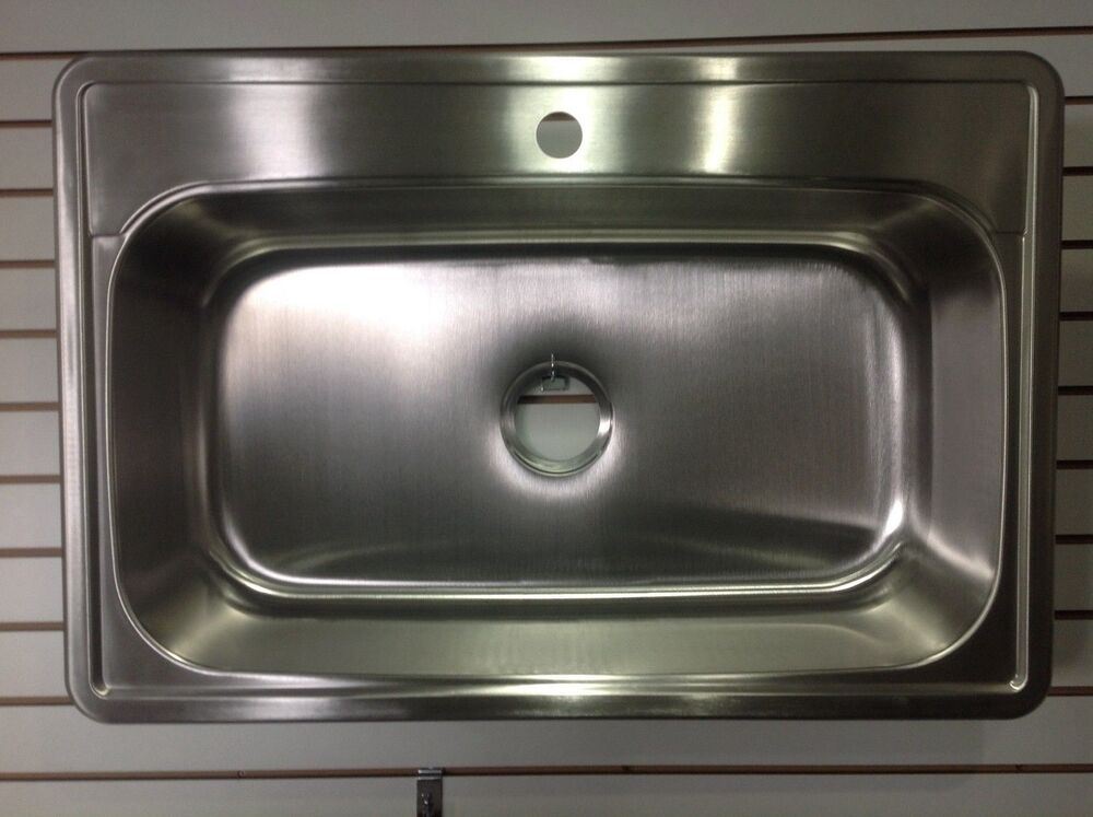 33 x 22 top mount drop in 1 hole stainless steel single for Best quality stainless steel kitchen sinks