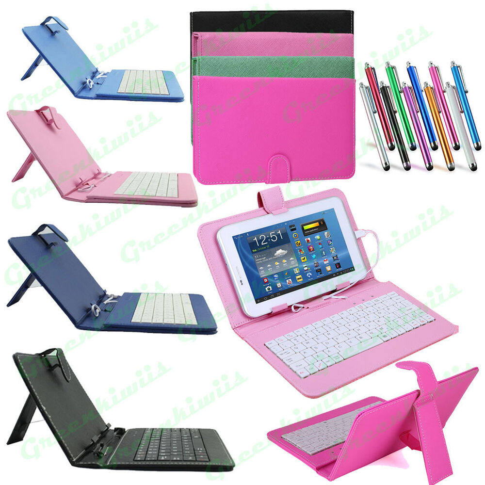universal leather kickstand case w micro usb wired keyboard for android tablet ebay. Black Bedroom Furniture Sets. Home Design Ideas
