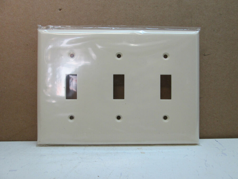 Wall Plate Light Cover : Premier Three 3 Gang Toggle Switch Cover Wall Plate - Light Almond eBay