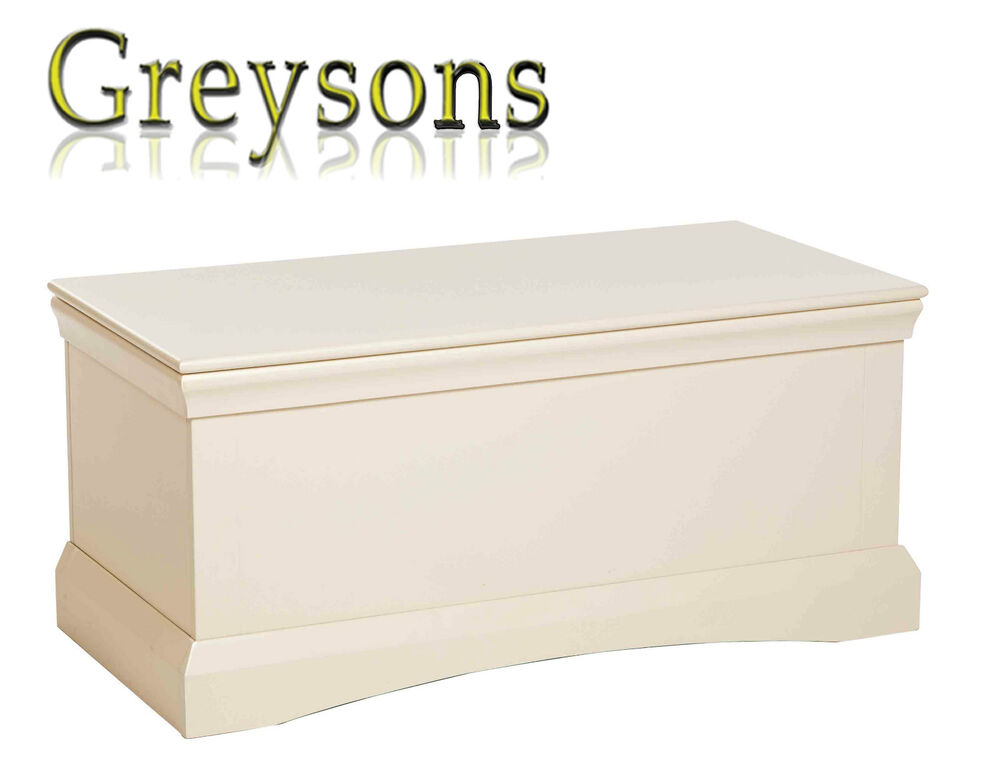 Wood Effect Kids Playroom Bedroom Storage Chest Trunk: NEW Carla Cream Painted Wooden Bedroom Chest Blanket Box