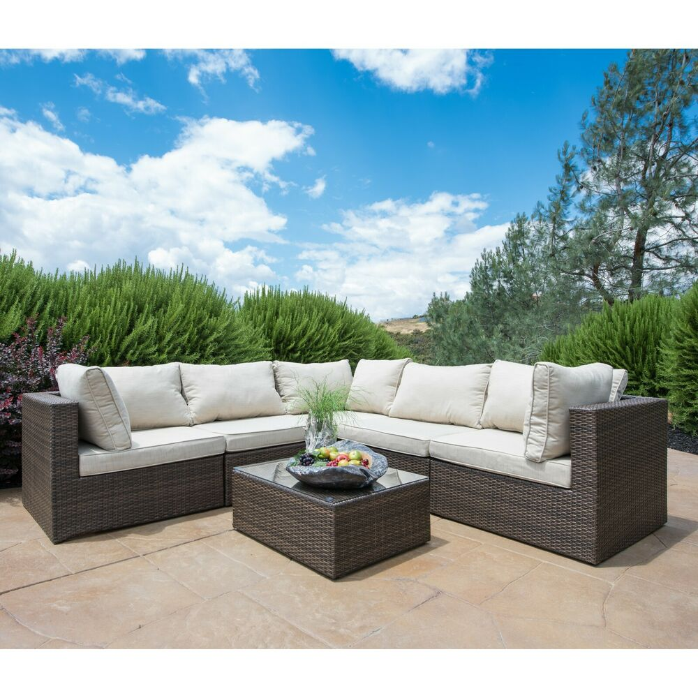 Supernova 6pc patio furniture rattan sofa set outdoor for Outdoor patio couch set