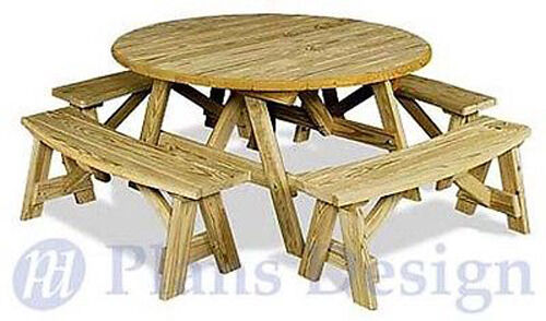 Classic Round Picnic Table Set Woodworking Plans Pattern