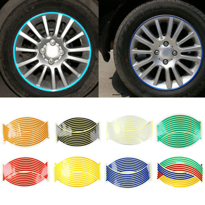 Strips Wheel Stickers Decals For Reflective Rim Tape Bike Motorcycle Car VH