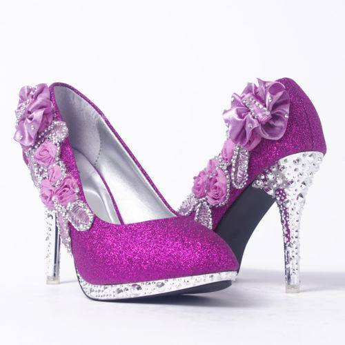Purple Wedding Shoes With Rhinestones