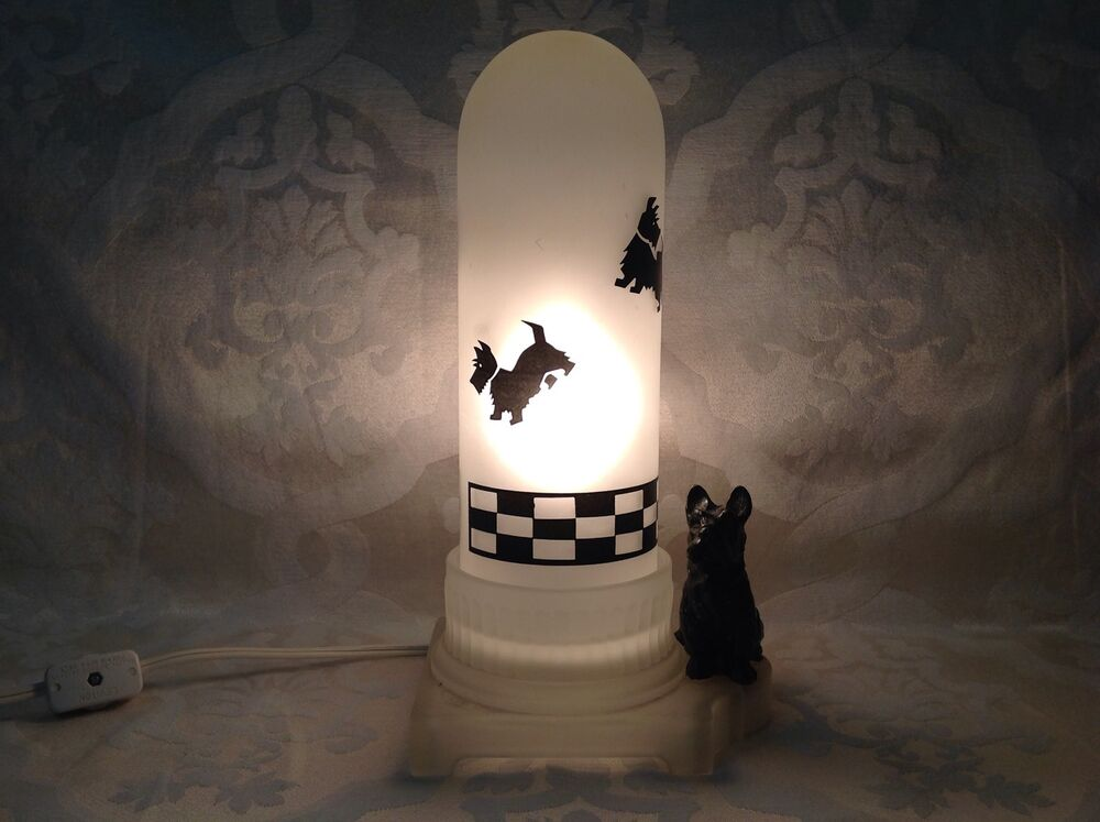 1940 RARE Frosted Glass Scotty Dog Night Light Lamp w ...