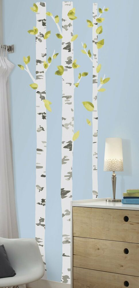 Birch Trees Giant Wall Decals Branches Leaves Room Decor
