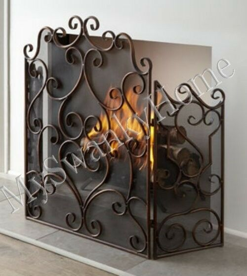 Neiman Marcus Bronze Scroll Firescreen Fireplace Screen Antique Old World French Ebay