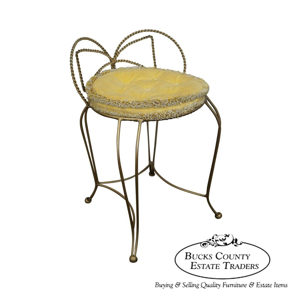 Vintage Hollywood Regency Italian Gilt Metal Vanity Chair
