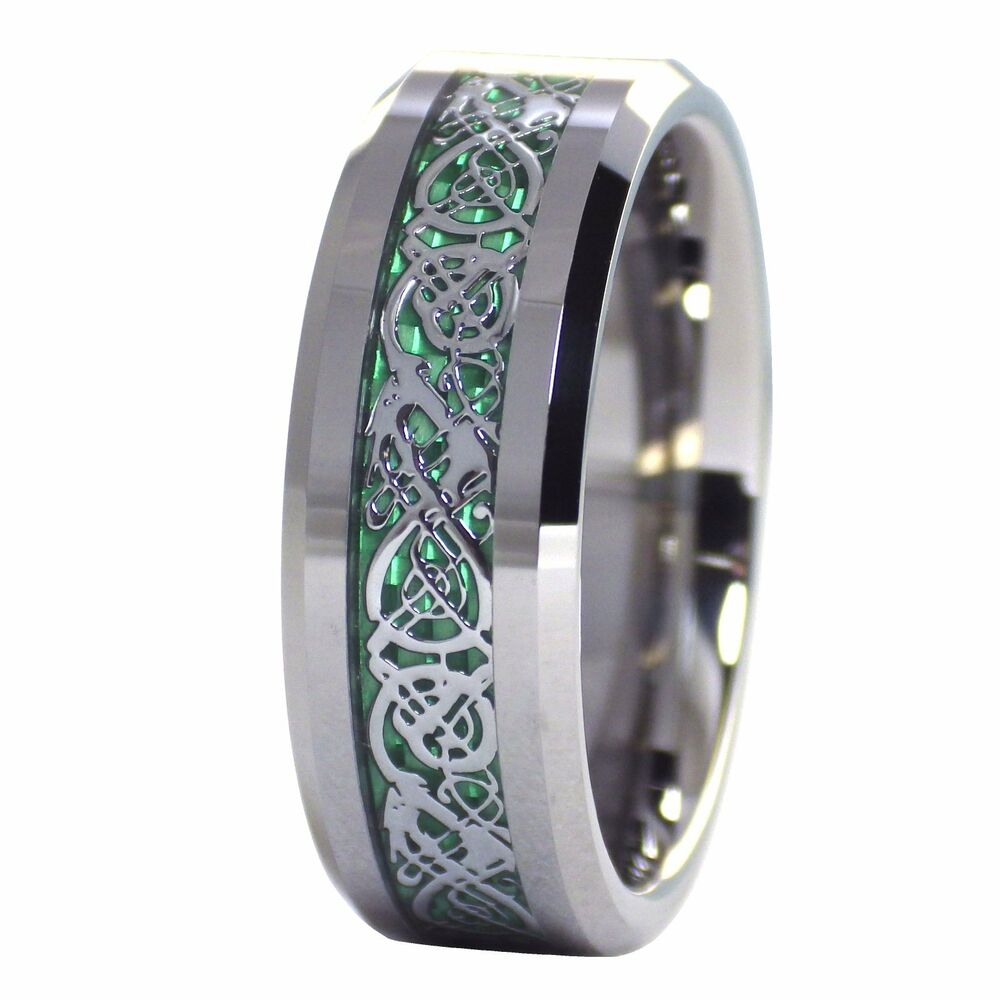 Celtic Ring Tungsten Shamrock Green Celtic Dragon Ring