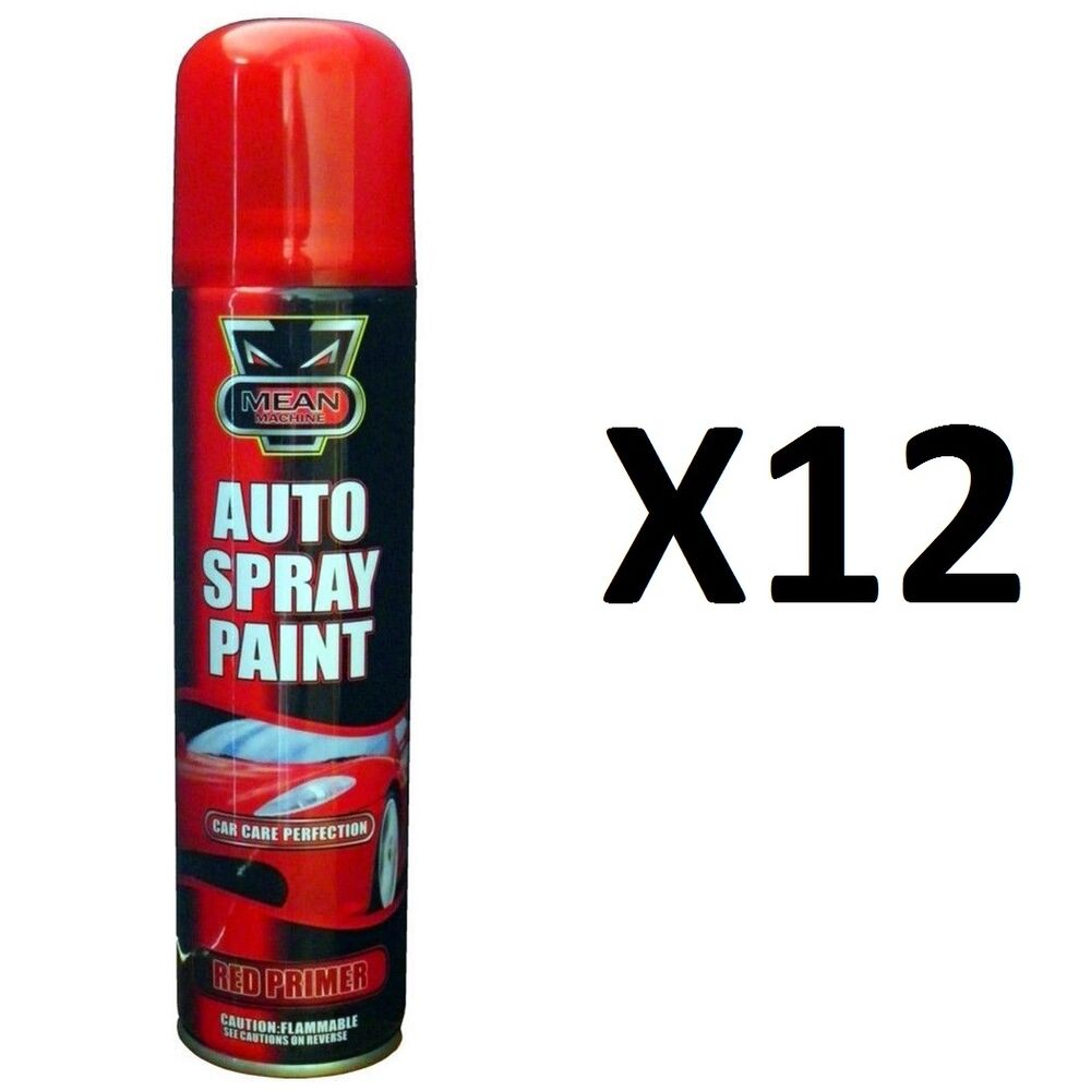h quality12 x red primer aerosol spray cans 300ml cars vans etc auto spray paint ebay. Black Bedroom Furniture Sets. Home Design Ideas