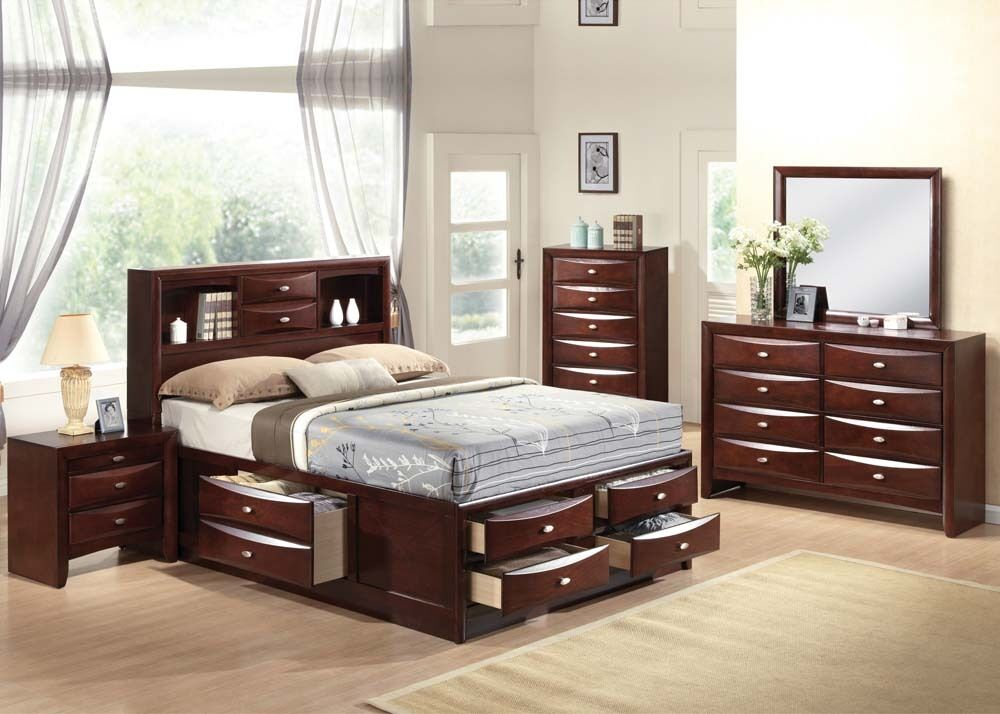 Ireland 4 pc bedroom set queen full king size bed storage for Queen size bedroom sets with mattress