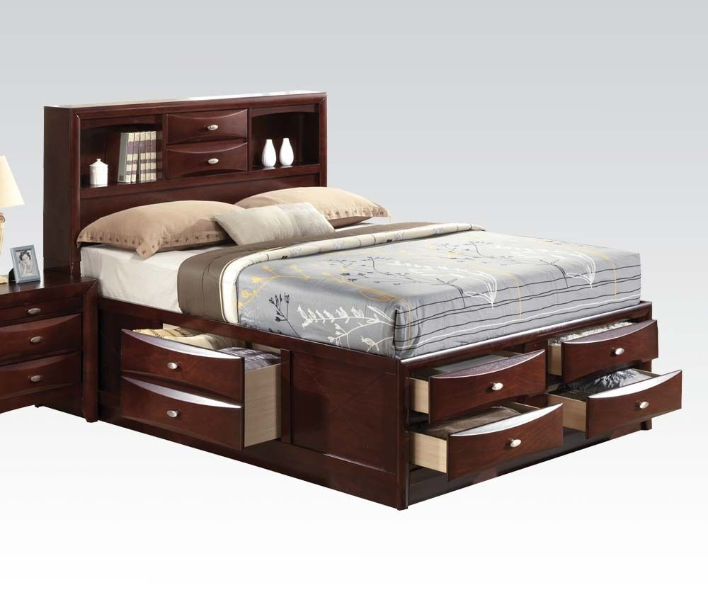 Modern Espresso Finish 1 Pc Eastern King Full Queen Size Bed Bedroom Furnitur