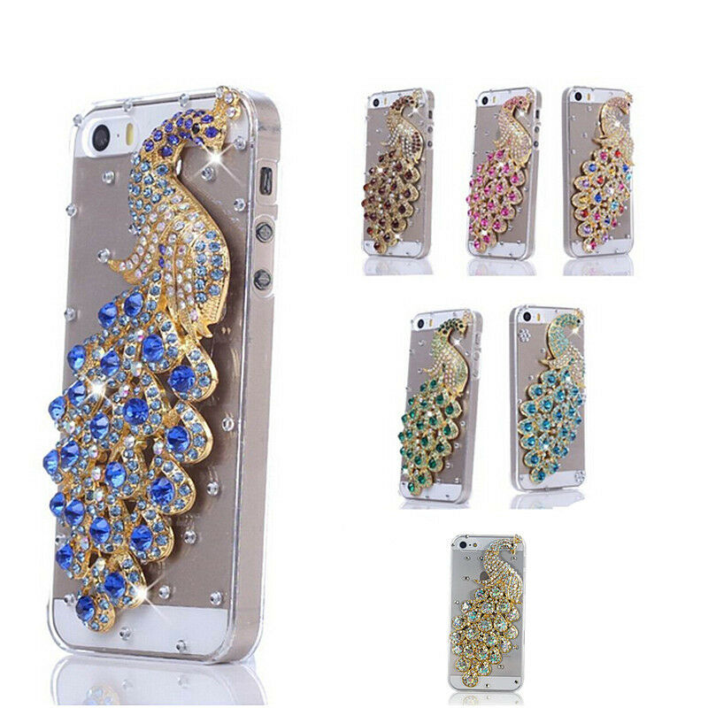 3d bling crystal diamond peacock hard back cover case for for 3d decoration for phone cases