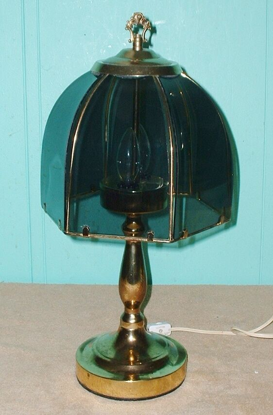 table lamp brass finish electric glass shade home office decor on off