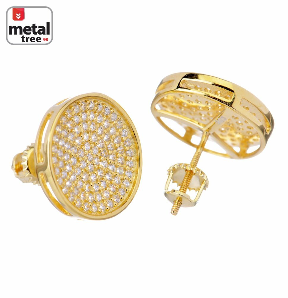 Hip Hop Earrings: Mens Hip Hop Iced Out XL Round Circle Square Flat Screen