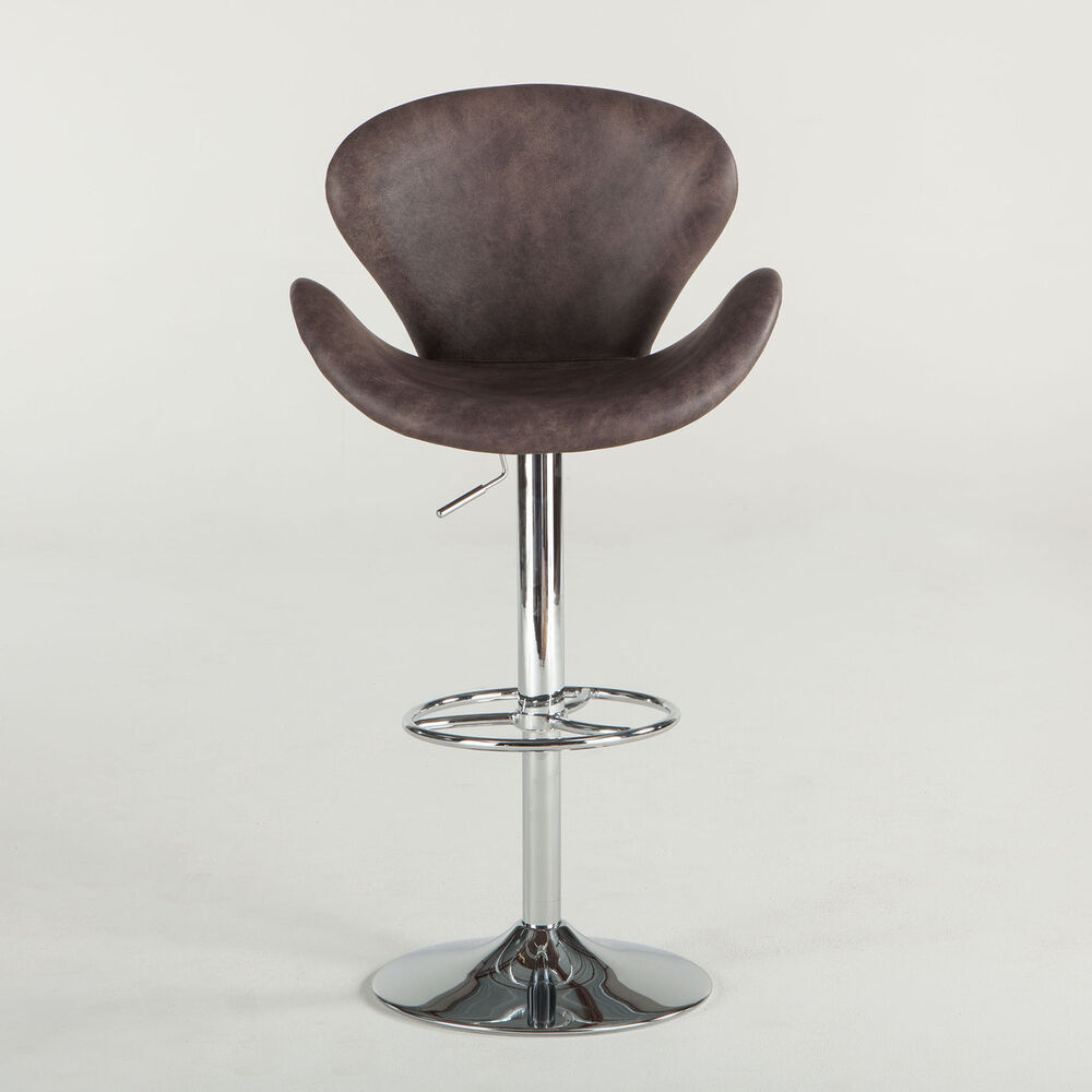 Swan Aviator Brown Vintage Leather Amp Chrome Barstool