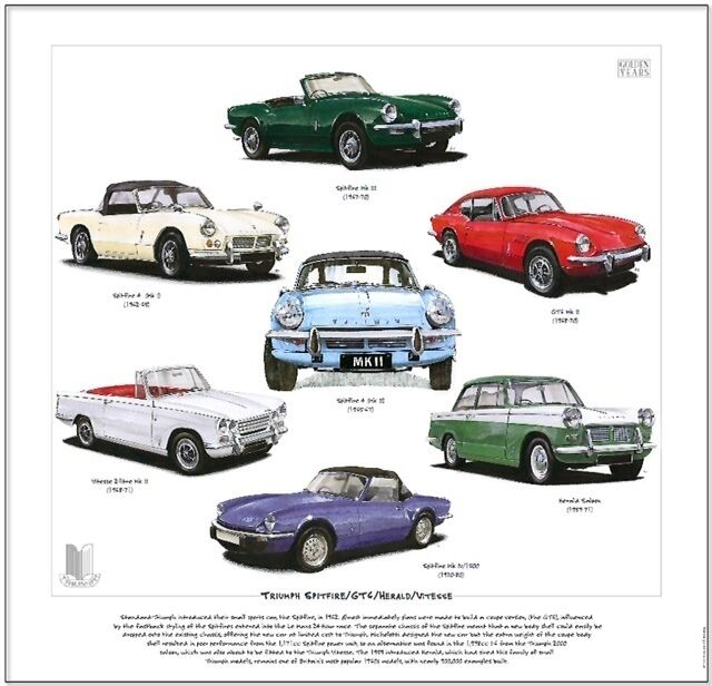 triumph spitfire gt6 herald vitesse fine art print mk1 mk2 mk3 1500 2 litre ebay. Black Bedroom Furniture Sets. Home Design Ideas
