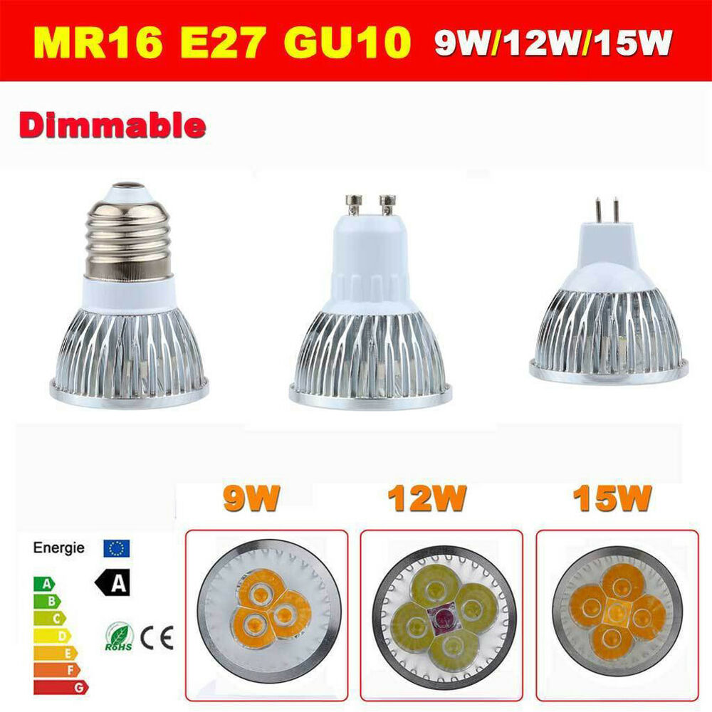Mr16 Dimmable Led Uk: Dimmable 9W 12W 15W GU10 MR16 E27 CREE LED Bulbs Spotlight