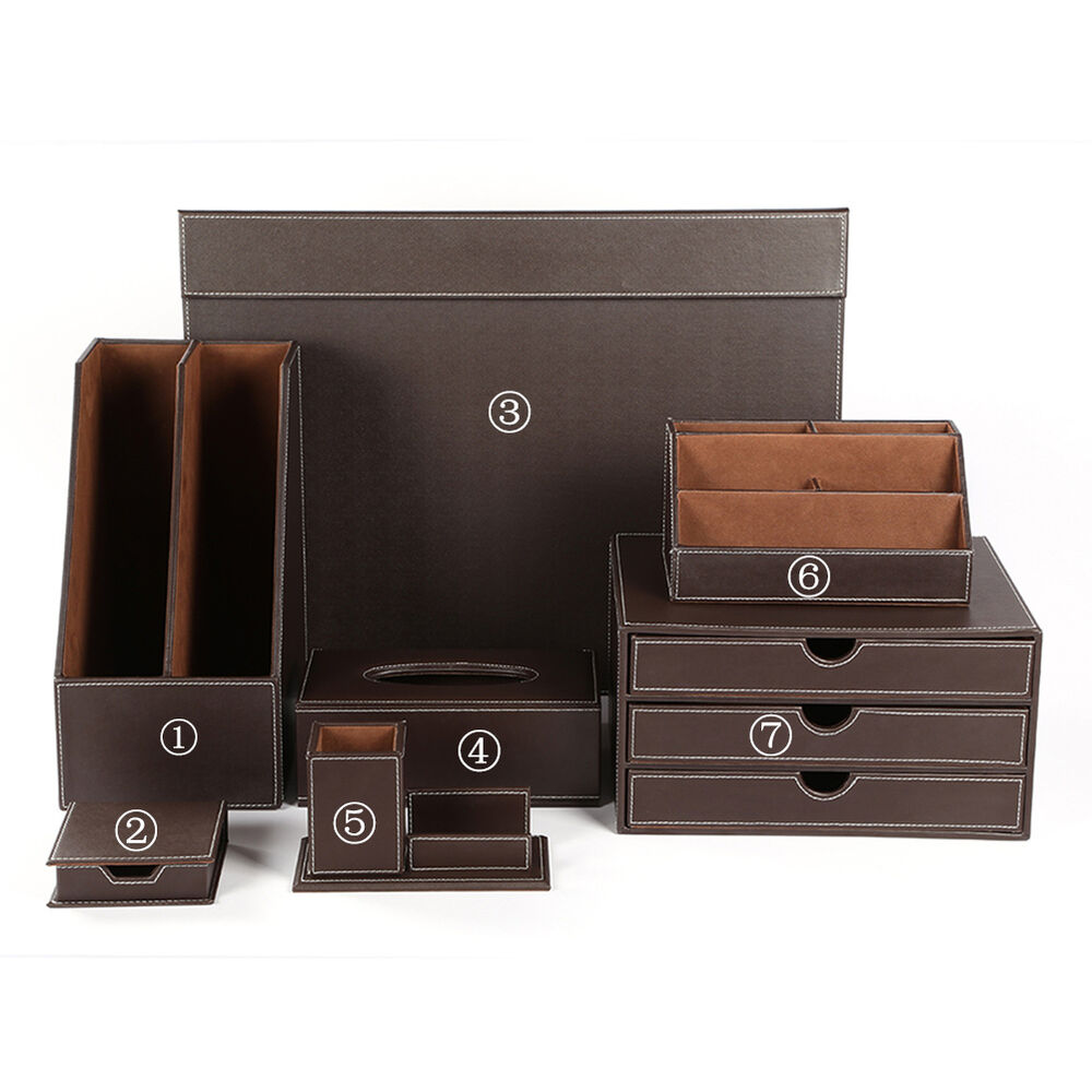 New leather wooden office desk files organizer 7pcs sets - Leather desk organizer set ...