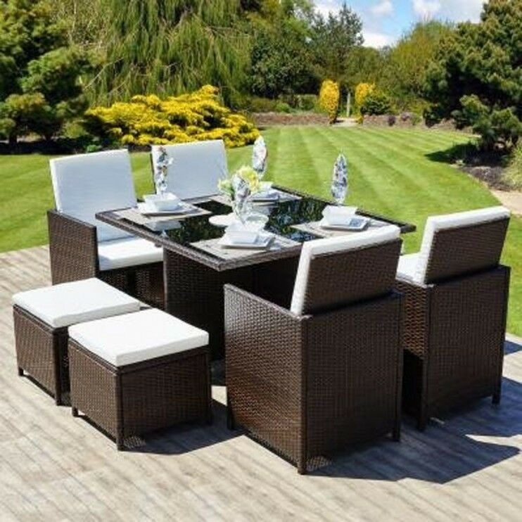 Cube Rattan Garden Furniyure Set Chairs Sofa Table Outdoor