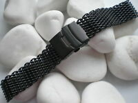 24mm stainless steel SHARK MESH BRACELET BLACK DIVING REPLACEMENT BAND