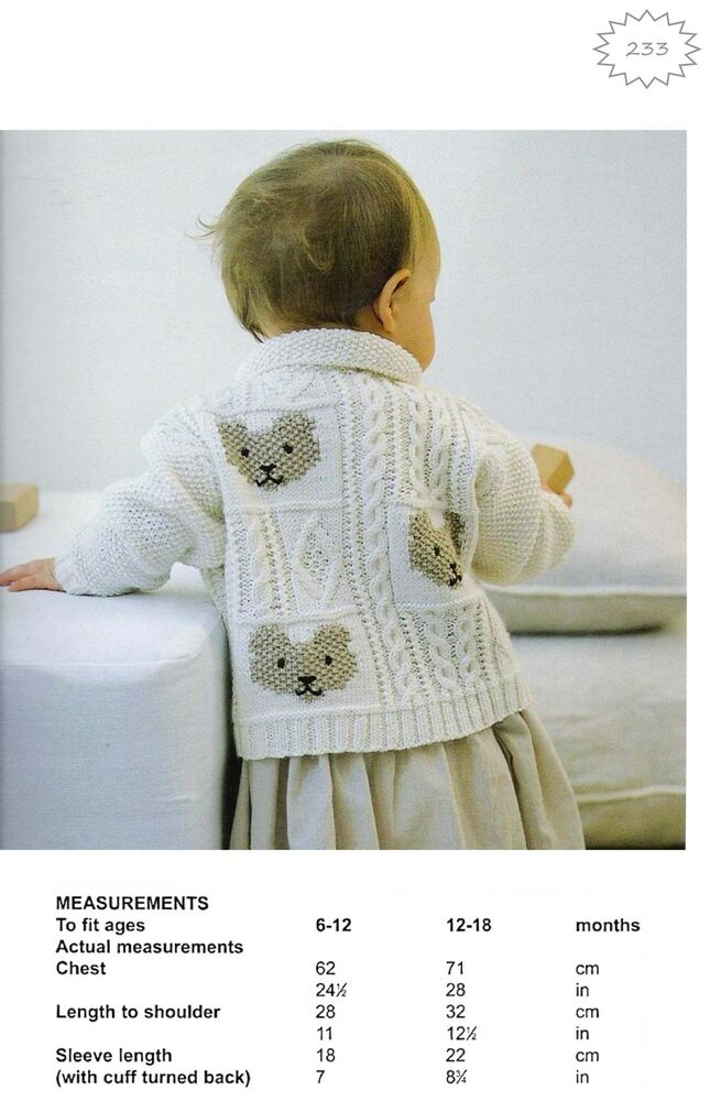 Toddler Girl Cardigan Knitting Pattern : Baby Toddler Girls Cable & Teddybear Jacket/ Cardigan, DK ...