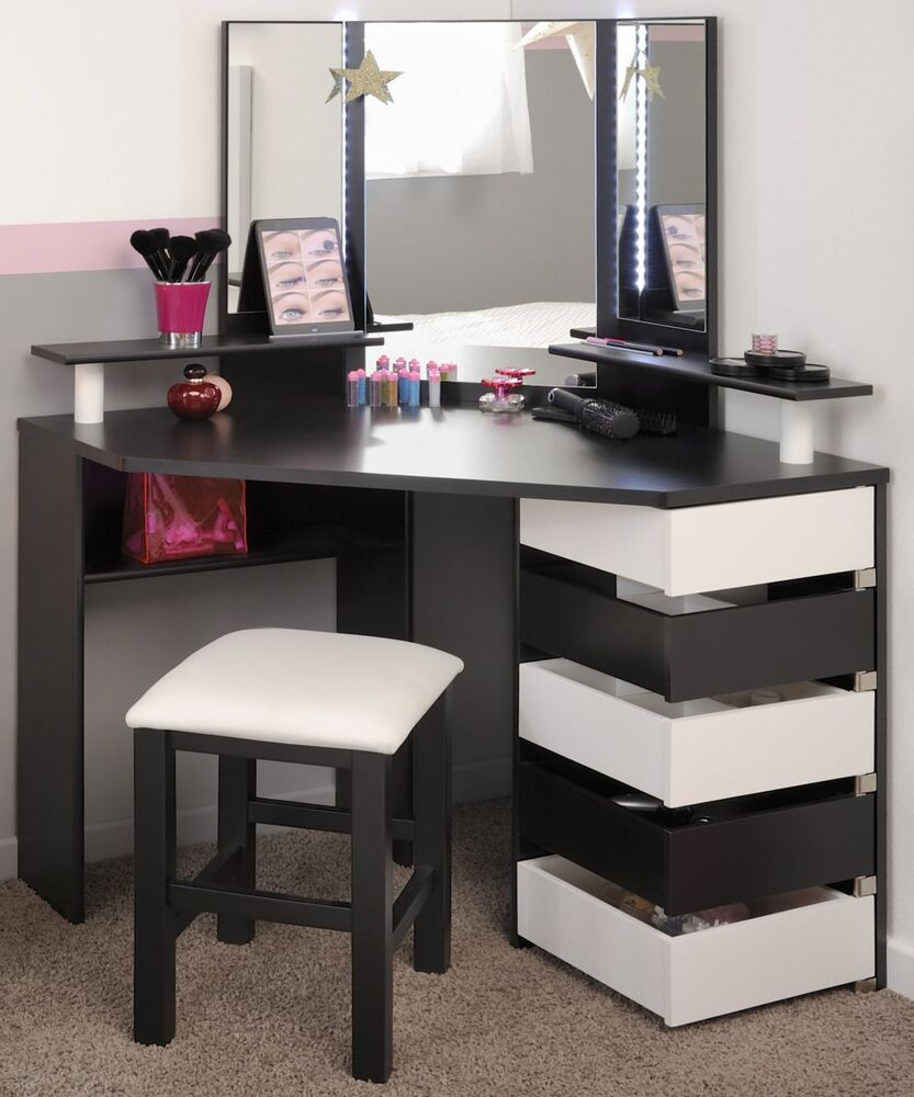 eck schminktisch frisierkommode kosmetiktisch spiegel schwarz weiss neu ebay. Black Bedroom Furniture Sets. Home Design Ideas