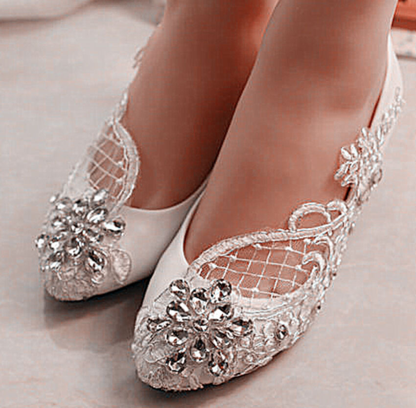 3cm/5.5cm Heel White Lace Flowers Crystal Wedge Wedding