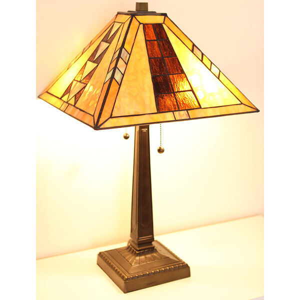 Tiffany Style Mission Table Lamp Handcrafted 17 Quot Shade Ebay