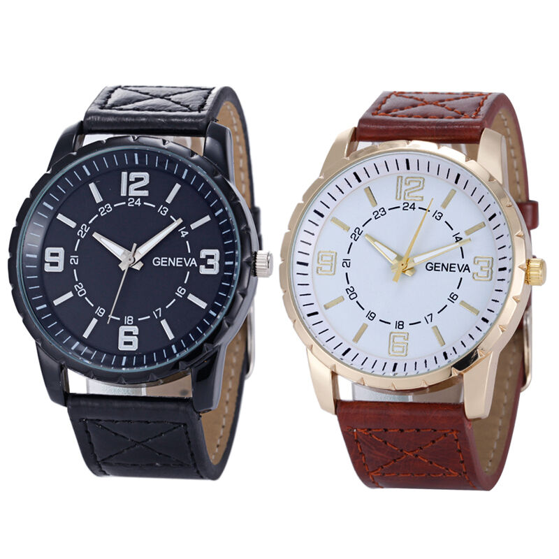 Geneva men s luxury business watch leather band quartz wrist watches cheap ebay for Cheap watches