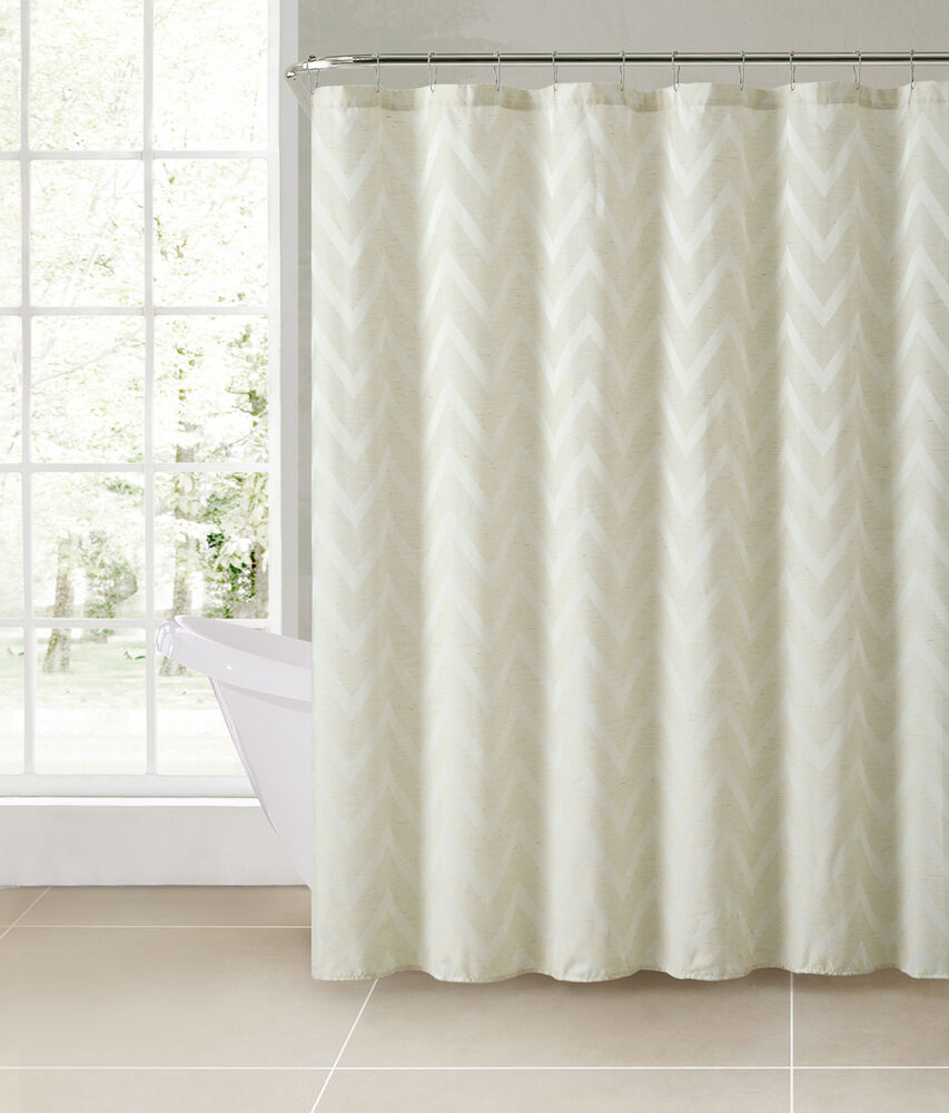 Carter Ivory Chevron Linen Blend Fabric Bathroom Shower Curtain Victoria Classic Ebay