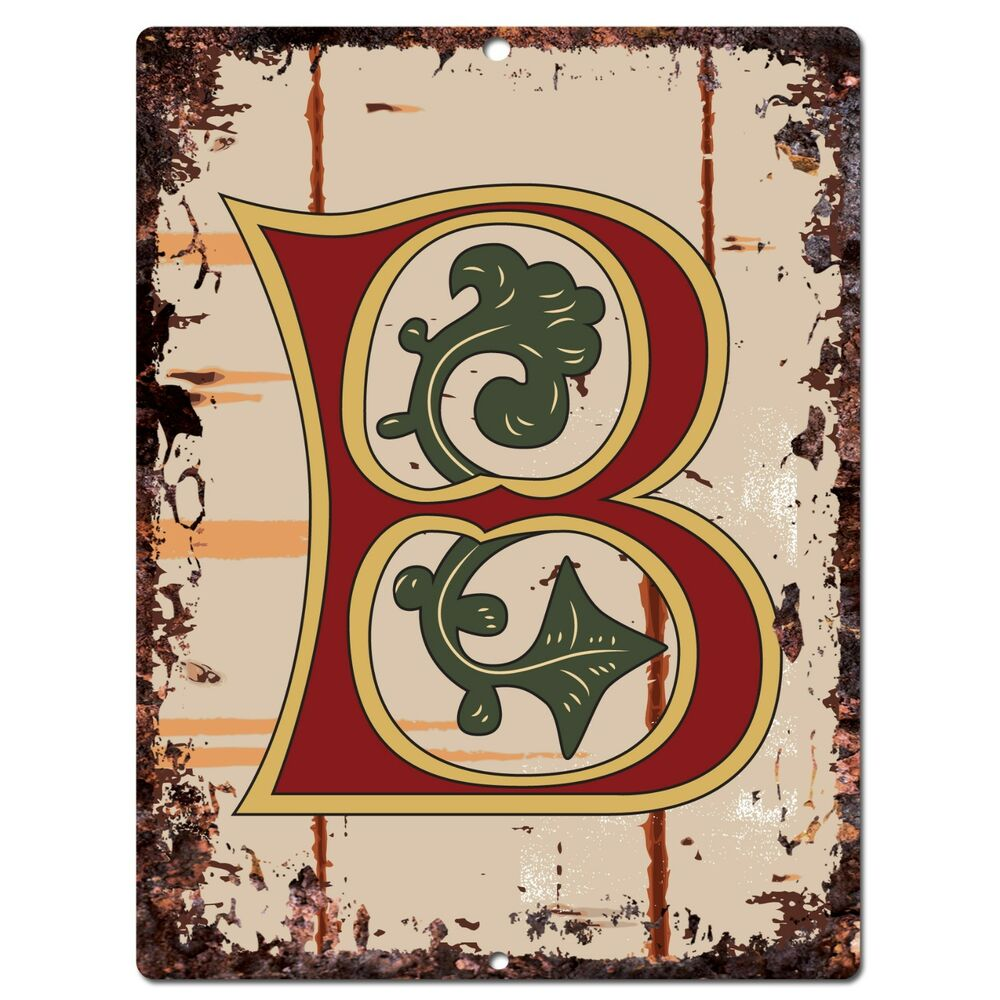 Initial Home Decor: PP0510 Alphabet Medieval Initial Letter B Chic Sign Bar
