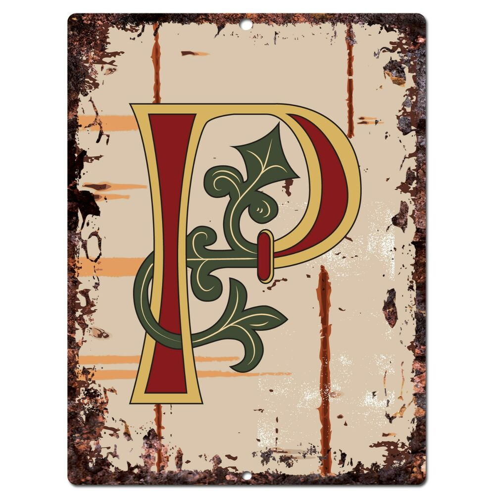 Pp0524 alphabet medieval initial letter p chic sign bar for S letter decoration