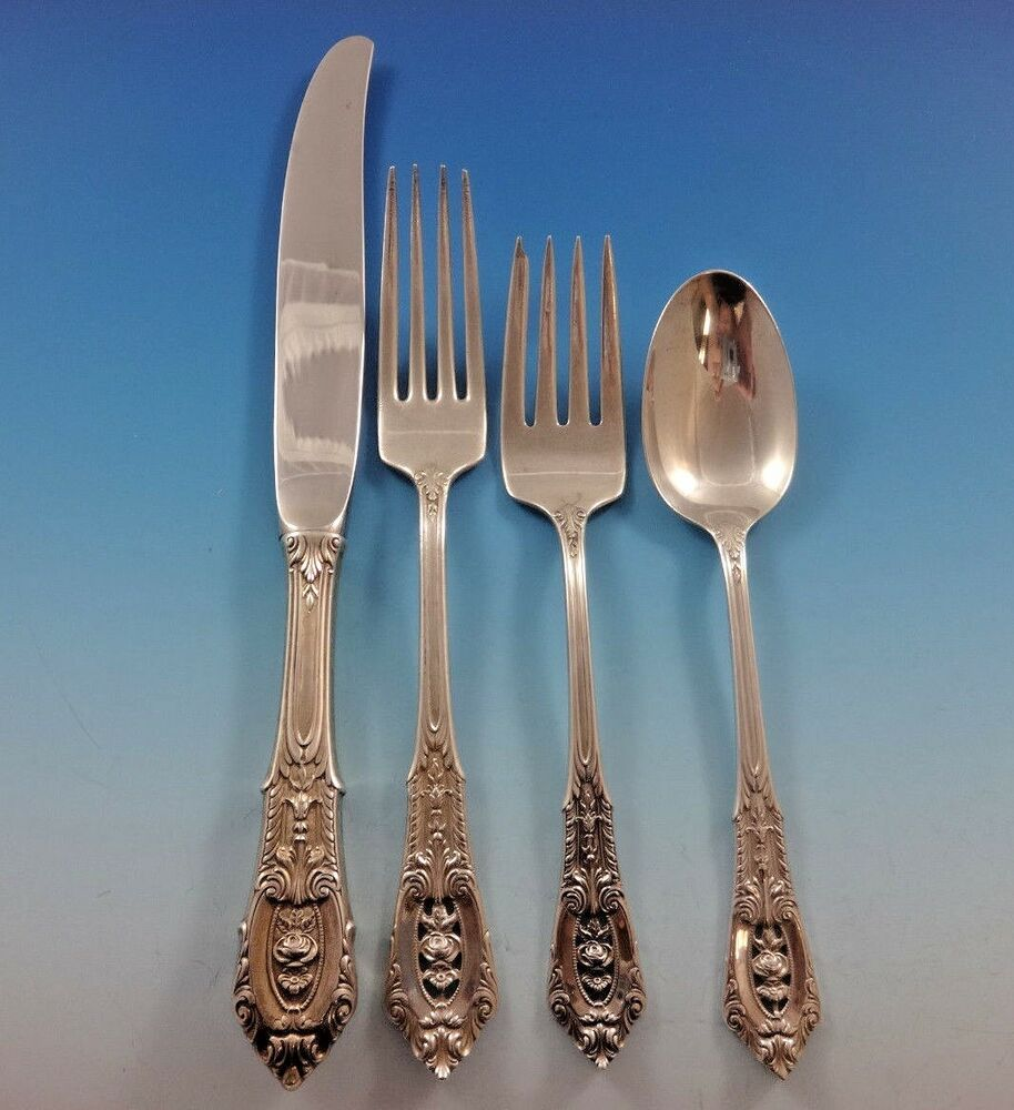 Rose Point By Wallace Sterling Silver Flatware Set Service