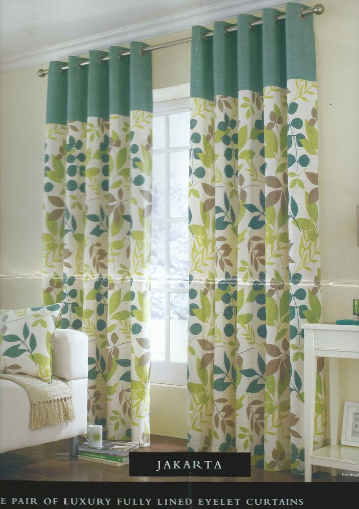 Floral Teal Eyelet Ring Top Ready Made Curtains Pair 8