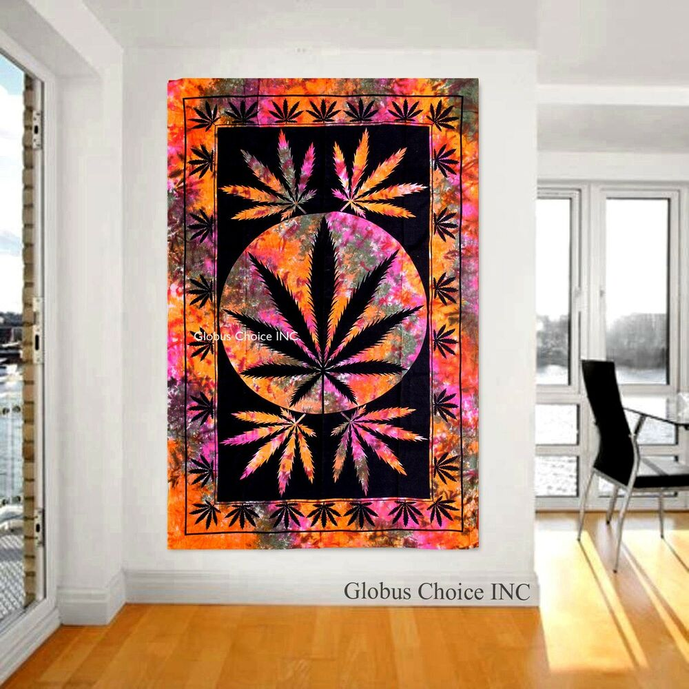 Wall hanging rasta colour big hemp leaf tapestry unique for Home decor wall hanging