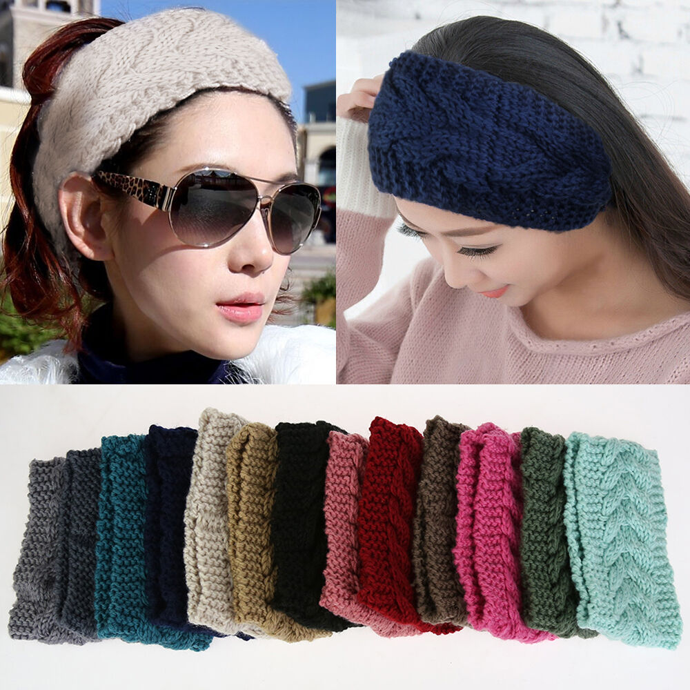 Crochet Knit Knitted Headwrap Headband Ear Warmer Hair Muffs Band ...