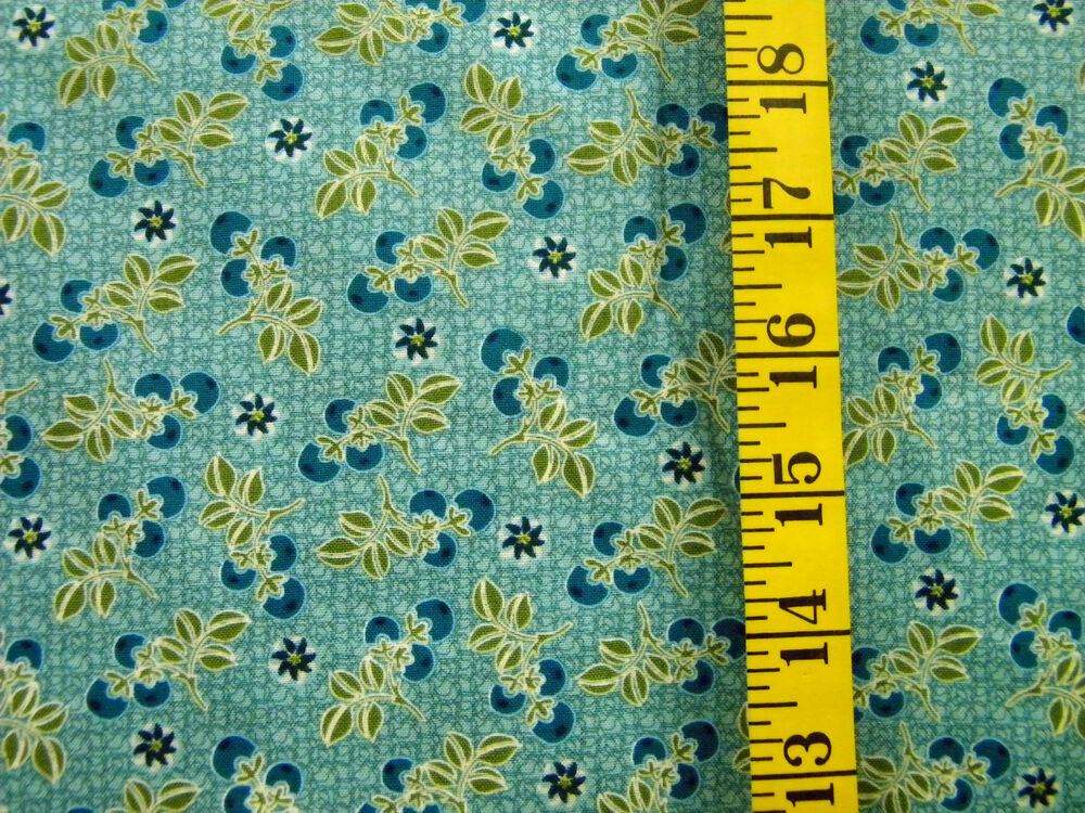 keepsake calico print on blue greens 100 cotton fabric by the 1 2 yard