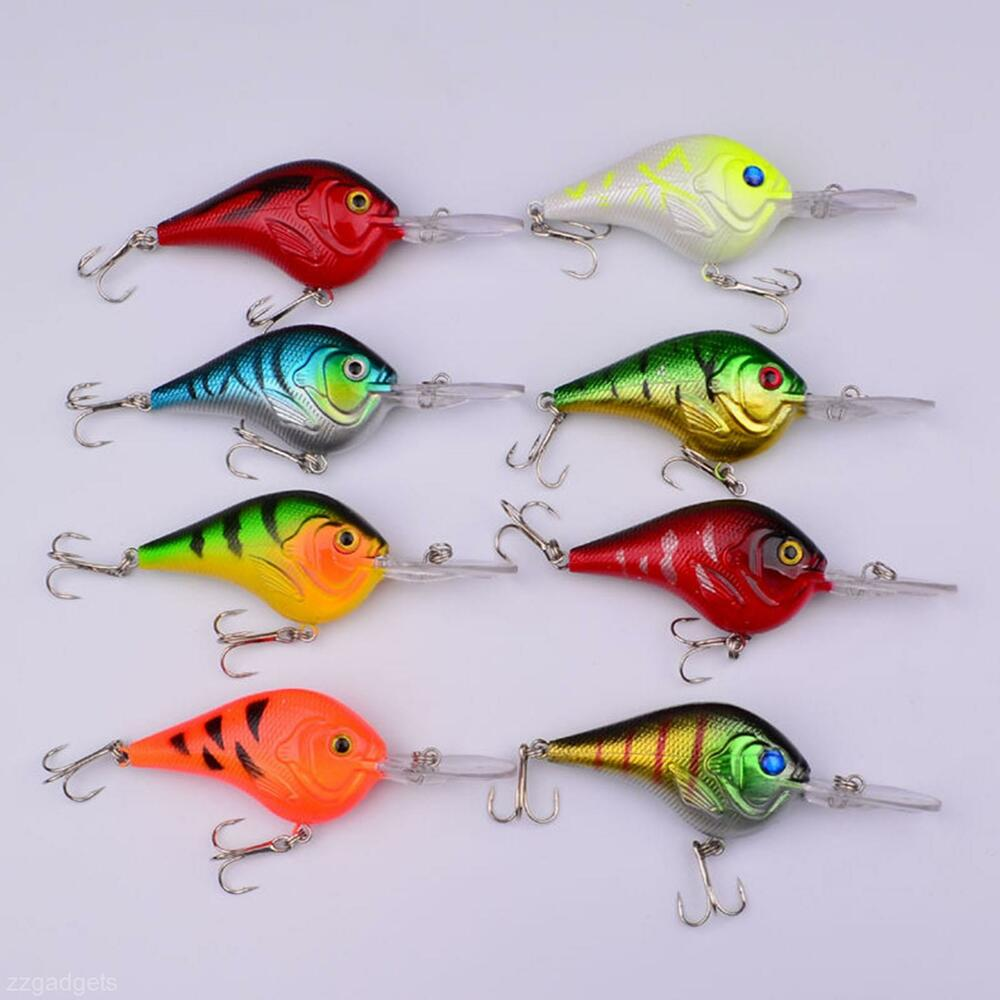 1pc plastic fishing lures crankbait fish bait crank bait for Fishing lures ebay