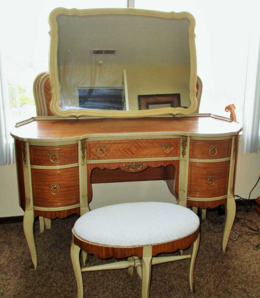 antique bedroom vanity chair stool desk set satin wood 87968