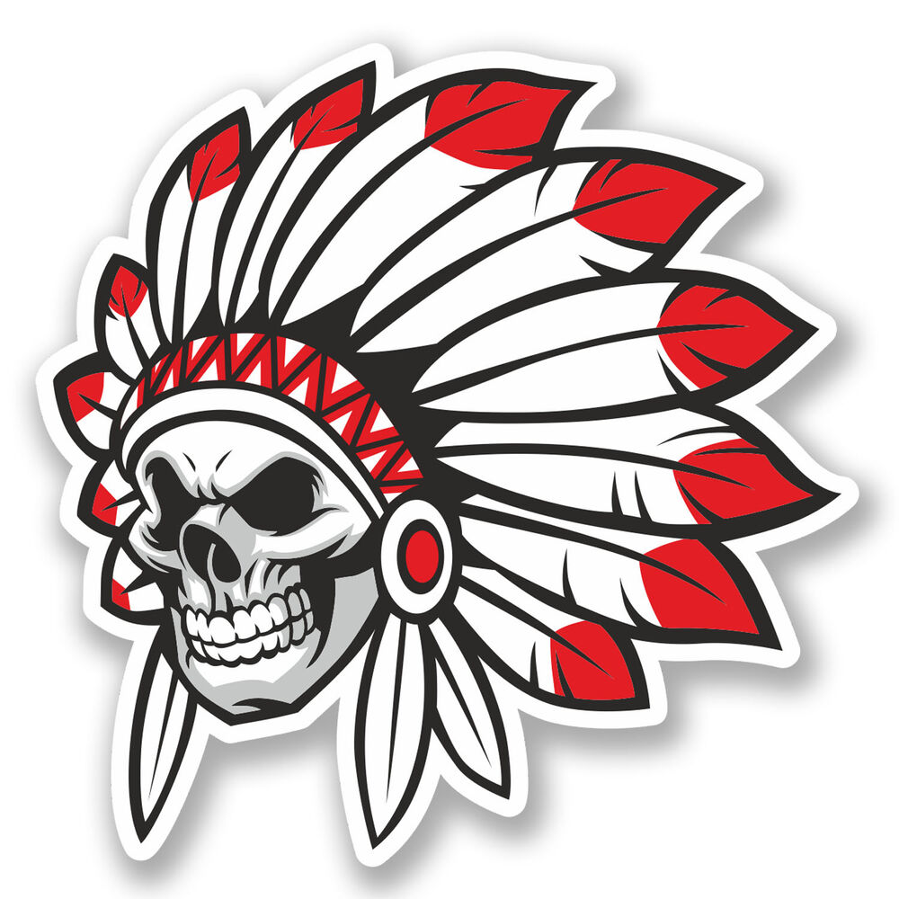 Details about 2 x indian skull vinyl decal sticker ipad laptop car bike tablet kindle 5622