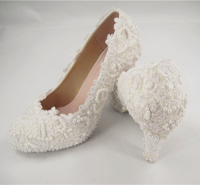 off white wedding shoes handmade white floral lace bridal shoes pearl high 6227